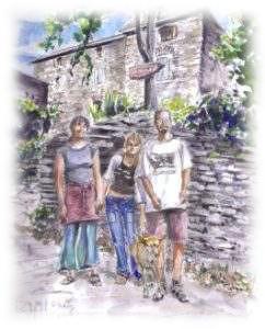 Elisabeth, Josephine, Philippe et vanille devant l'oustaou une aquarelle de Raphael